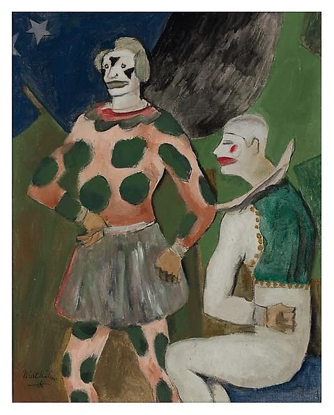 Clowns, 1926 Oil on linen, 15 x 12 inches