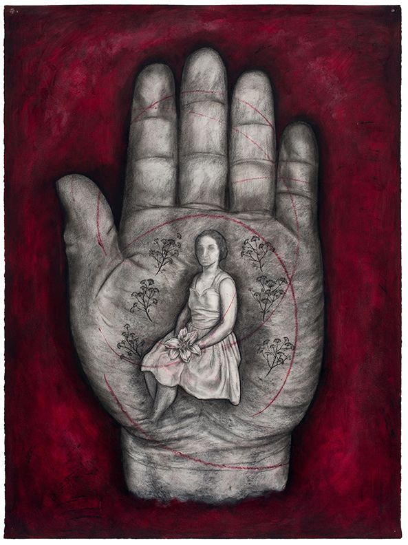 Hand XIII, 1995, Oil stick and charcoal on paper
