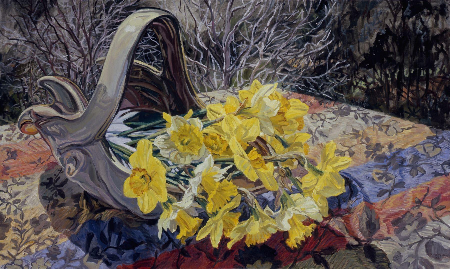 Daffodils/Dark Trees, 2008, Oil on canvas