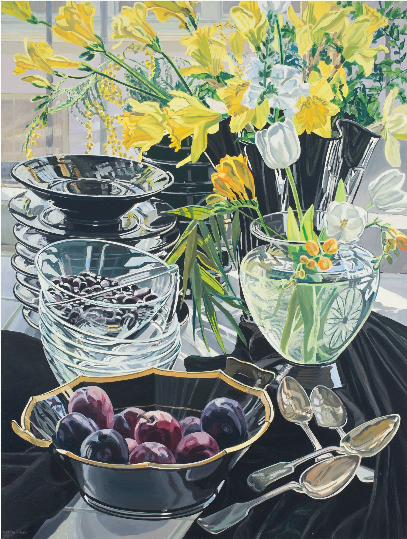 Black Vase with Daffodils, 1980, Oil on canvas