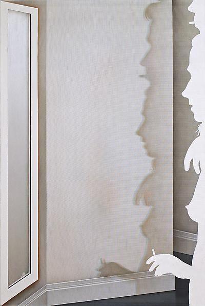Doublesmoker, 2013 Acrylic on nylon mesh, 55 x 36 inches