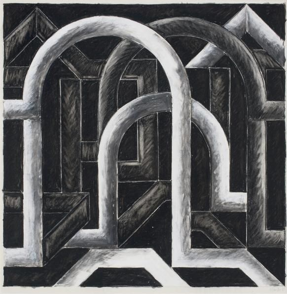 Untitled, 1983. Charcoal on paper, 22 x 22 inches.