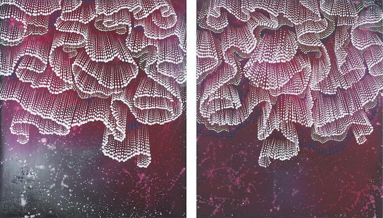 Folds, 2015, Acrylic on linen, 42 x 36 inches (each)