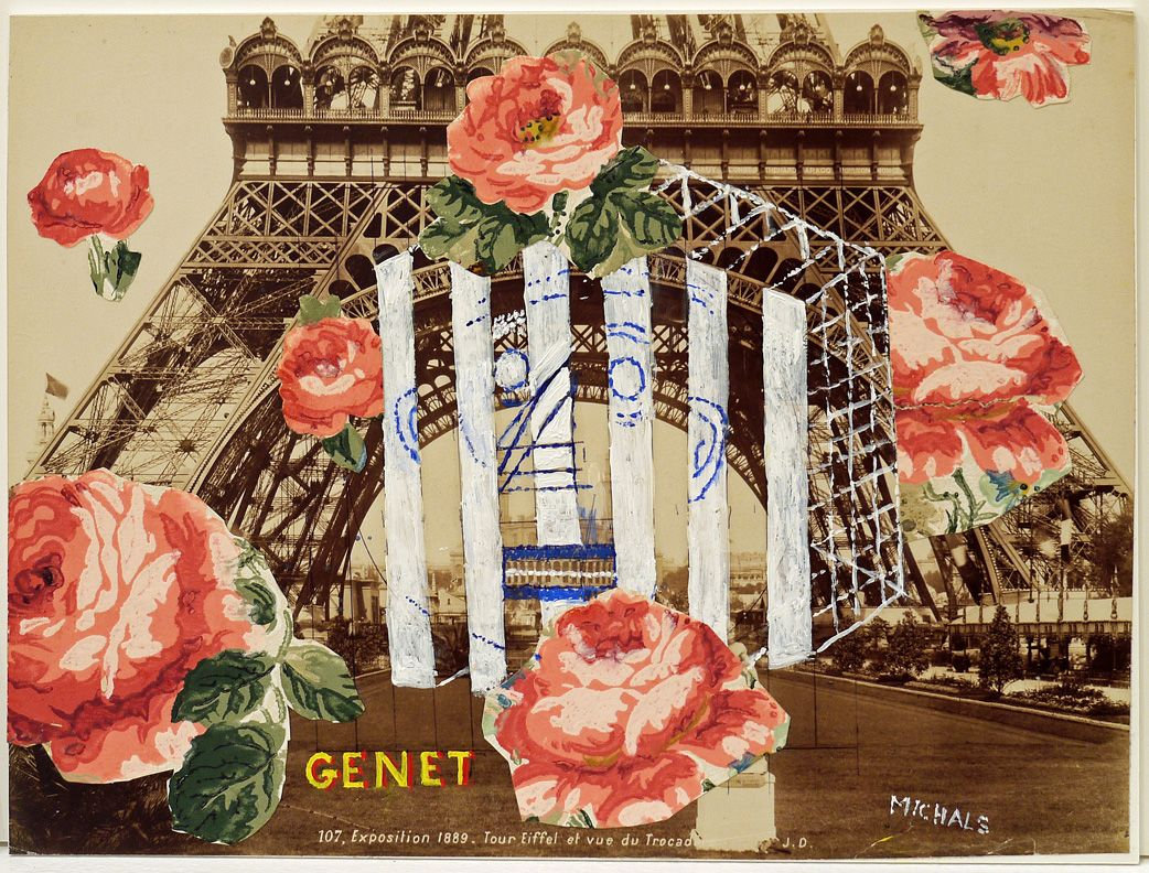 Genet 2013 Photograph with hand-applied oil paint and collage, mounted on board
