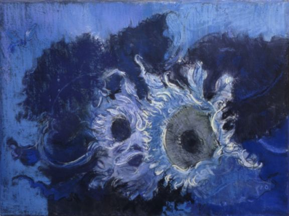 Bee and Blue Sunflowers, 2001, Pastel on paper