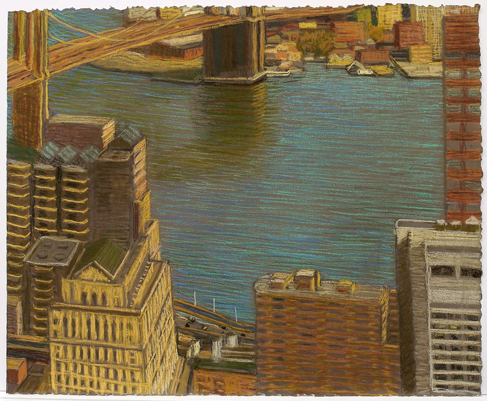 East River View with Brooklyn Bridge, 2015, Pastel on paper