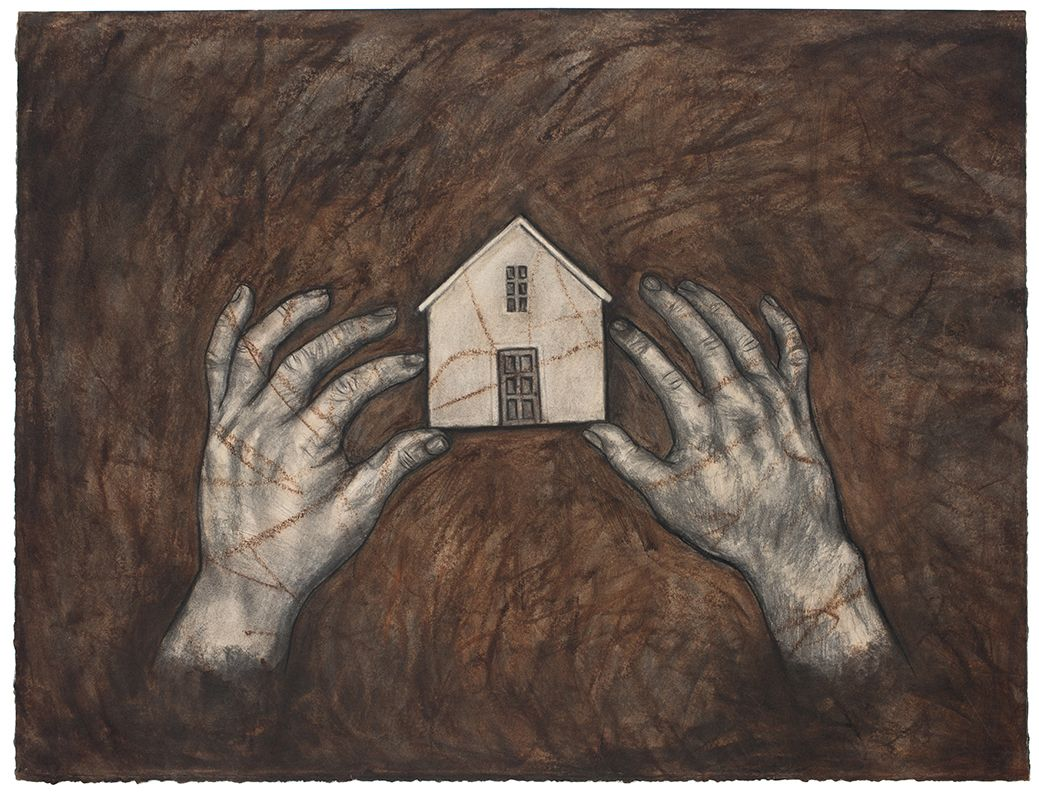House II, 1989, Oil stick and charcoal on paper