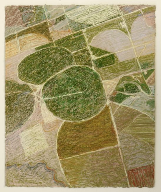 Irrigation Circles Near Aurora, CA, 2013, Pastel on paper