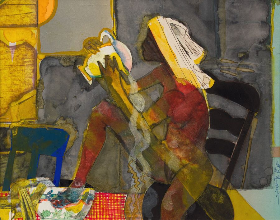 Morning Ablutions, 1975, Collage with acrylic on board