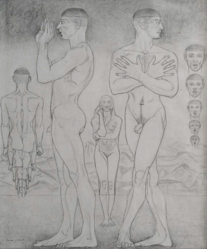 "Jared French, Study for ""Learning"", c. 1945"