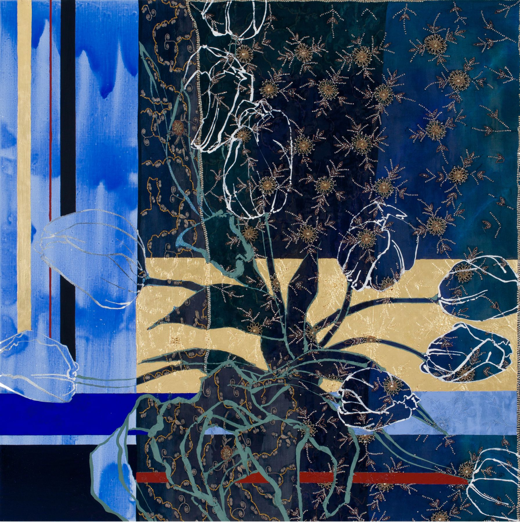 A Visit to Delft- Blue and White, 2018, Oil, acrylic, gold leaf, silk, embroidery, sequins, and rhinestones on canvas