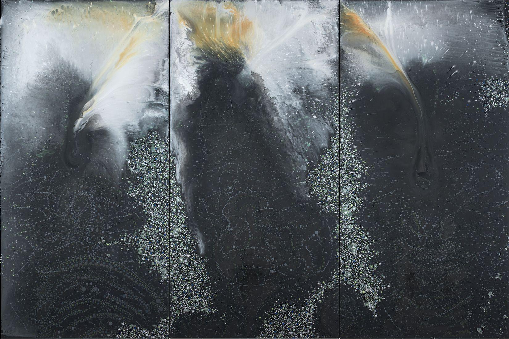 Black Triptych (blaze), 2016, Acrylic on linen, 72 x 108 inches