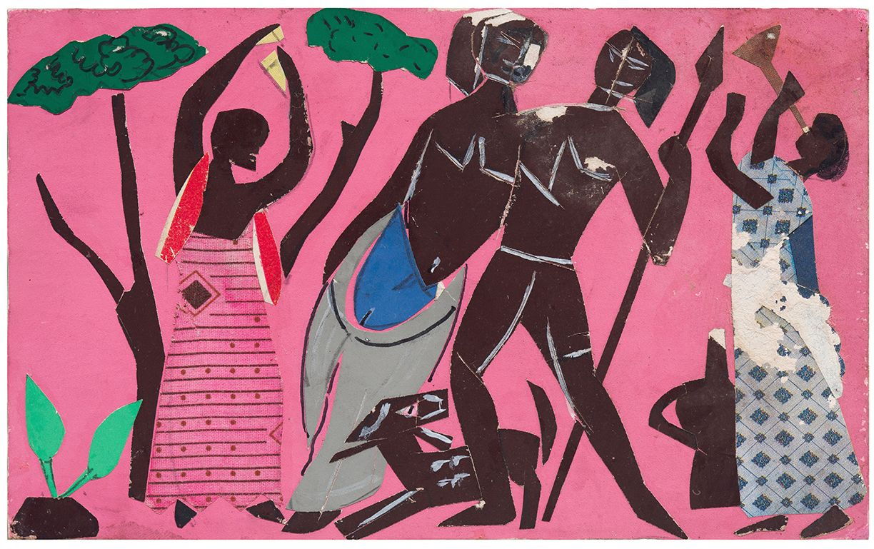 Bayou Fever, Unititled (African Men and Women/Trees), 1979, Collage and acrylic on fiberboard