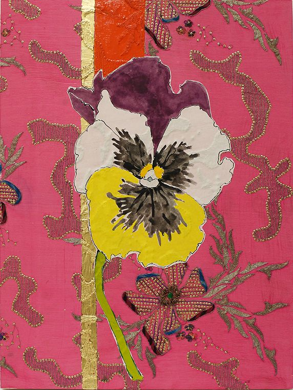 Pansy, 2018, Oil, acrylic, ink, gold leaf, paper, silk brocade, embroidery, sequins, and rhinestones on panel