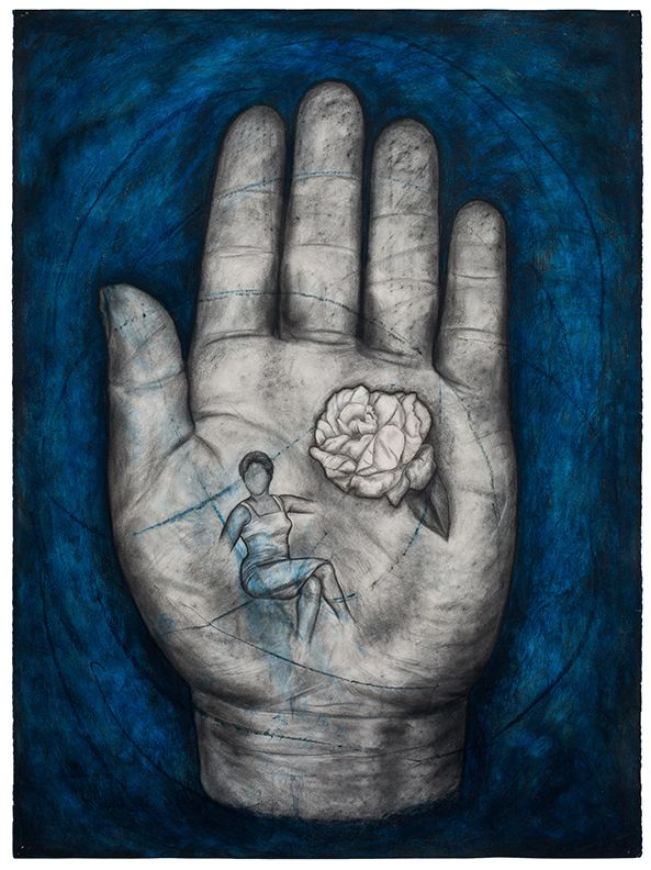 Hand II, 1996, Oil stick and charcoal on paper