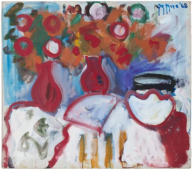 Table Still Life with Red Vases, Fan and Bowl, 1968