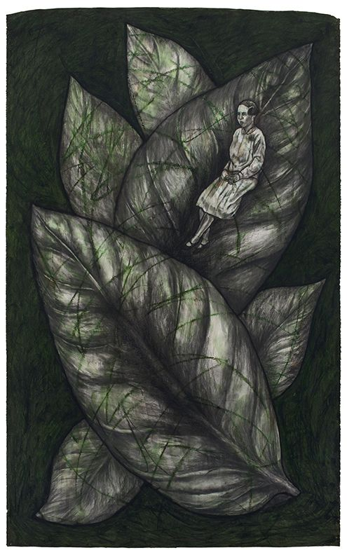 Leaves, 1992, Oil stick and charcoal on paper