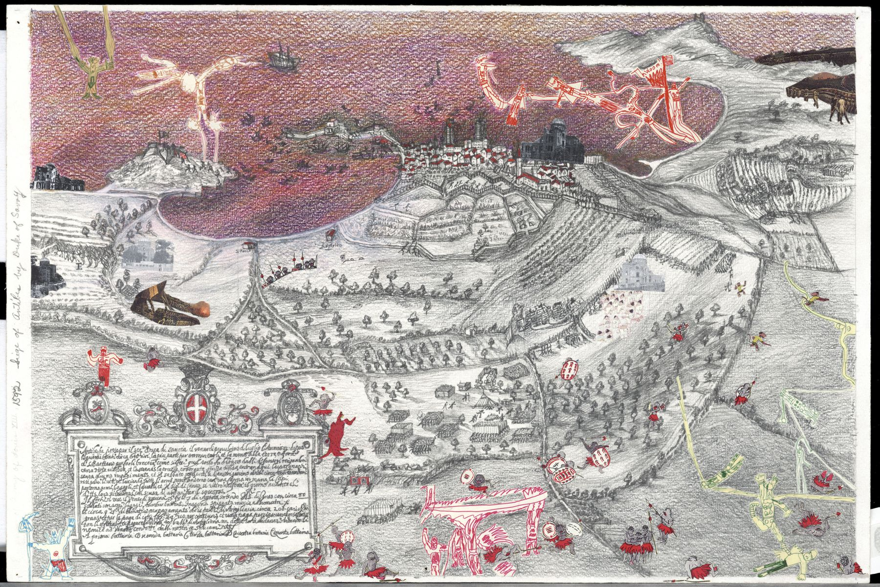 Boys' Art #24: Siege of Antibes, 1592, 2001-02, Mixed media on paper