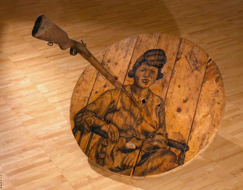 Eclipse, 2004 Charcoal on wood, drum, rifle