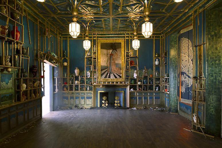 Installation shot ofDarren Waterston's Filthy Lucre: Whistler's Peacock Room Reimagined, on displayat Victoria & Albert Museum, London, U.K.
