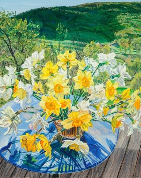 Daffodils & Spring Trees, 1988, Oil on linen