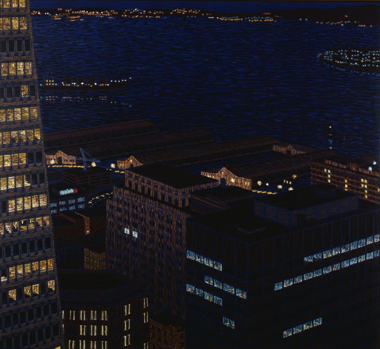 Embarcadero with Bay II, 1984, Oil on canvas