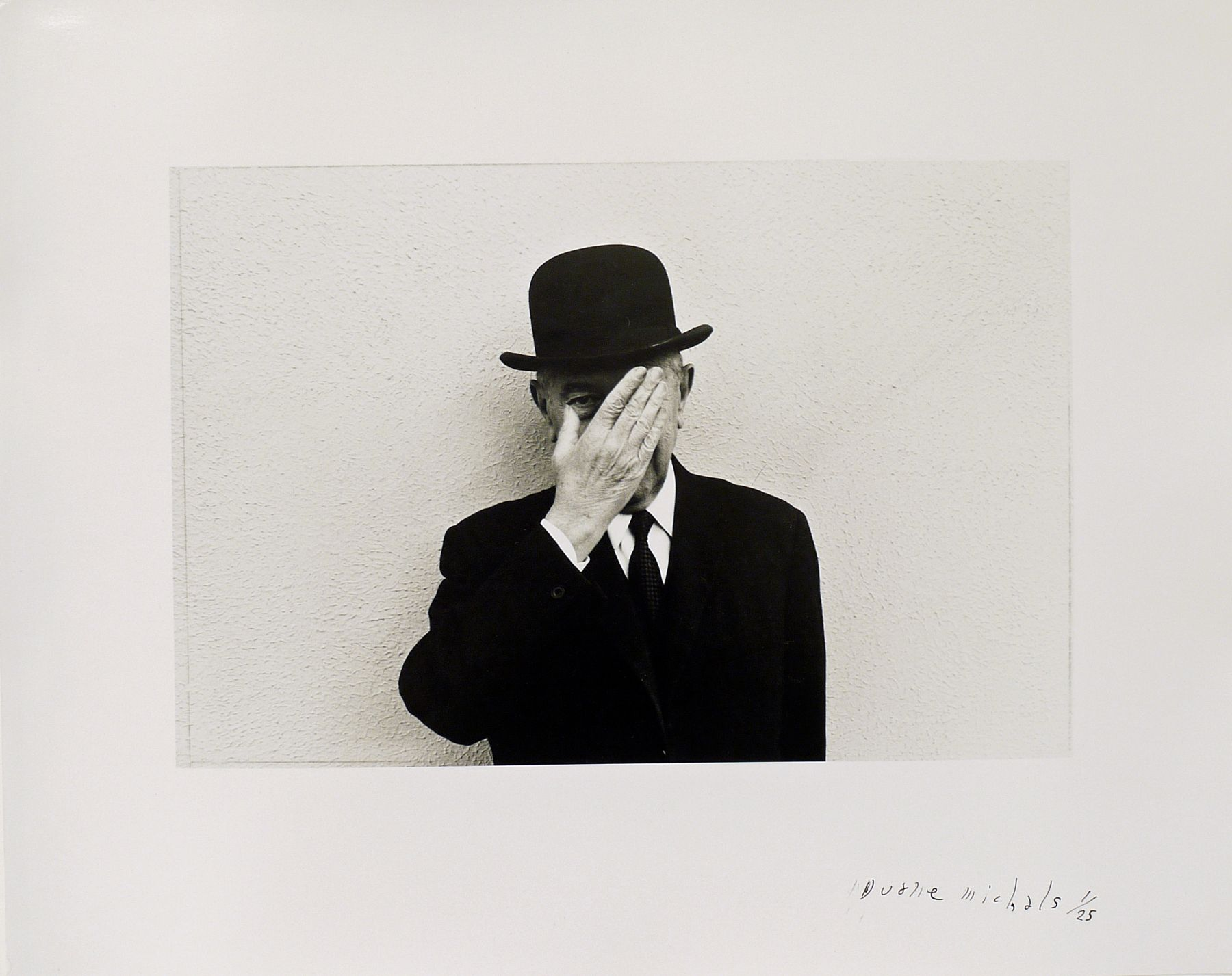 Duane Michals, Magritte with Hand Over Face Exposing One Eye, 1965/c. 1965