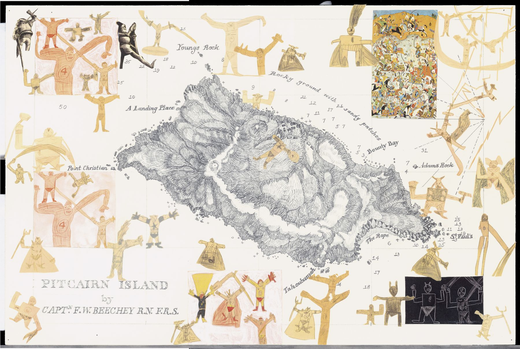 Boys' Art #1: Pitcairn Island, 2001-02, Mixed media on paper