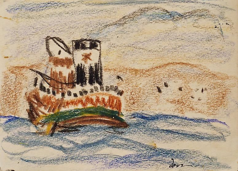 Tug, 1932 Crayon on paper
