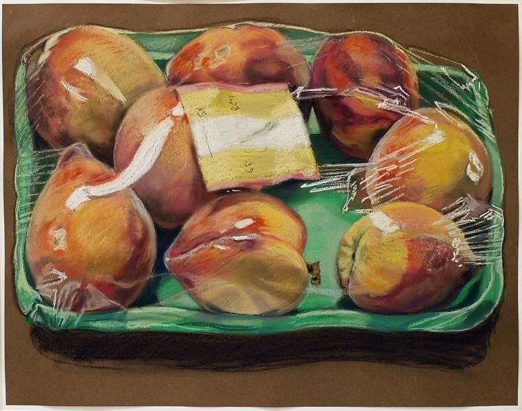 Box of Peaches, 1972. Pastel on paper, 20 x 26 in.