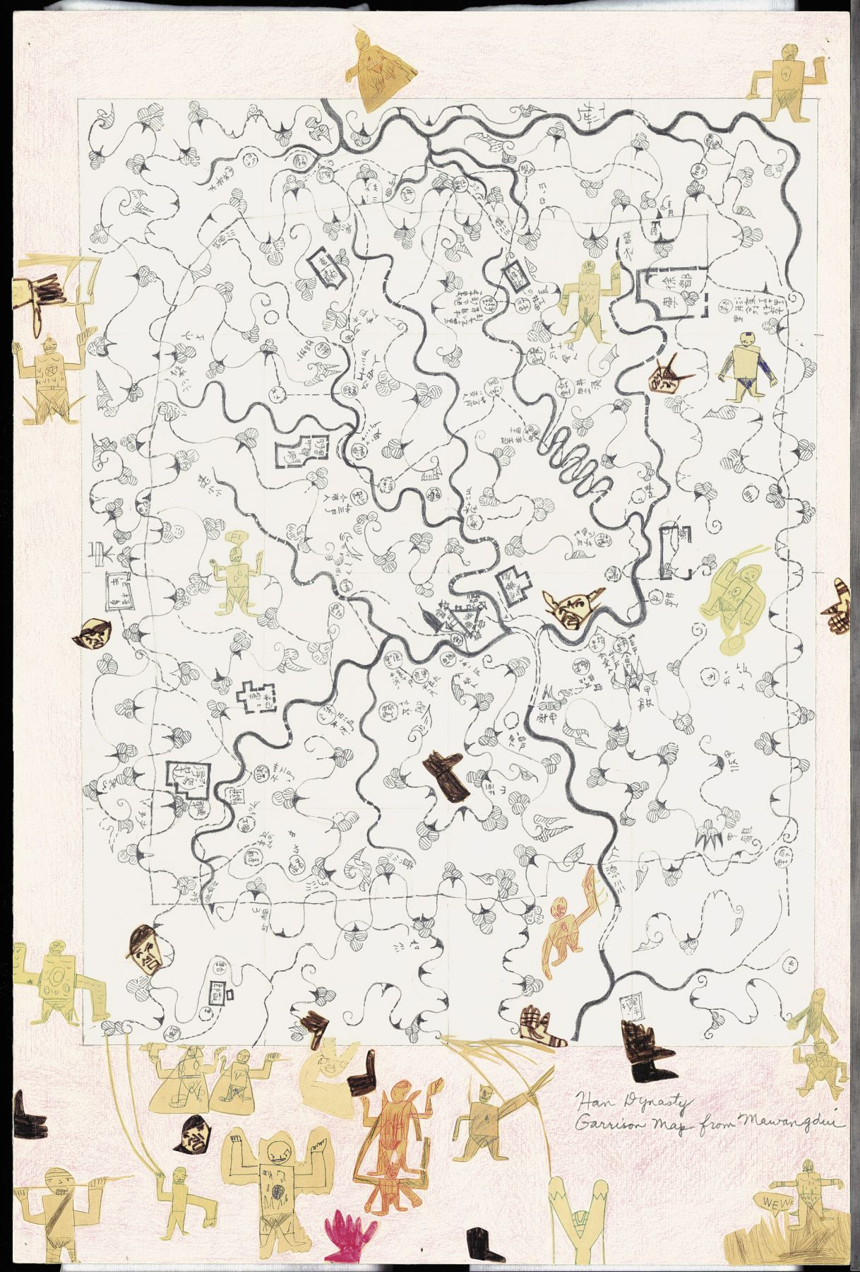 Boys' Art #13: Han Dynasty Garrison Map, 2001-02, Mixed media on paper