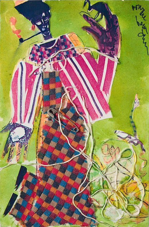 Bayou Fever, The Buzzard and the Snake, 1979, Collage on fiberboard with attached string and safety pin