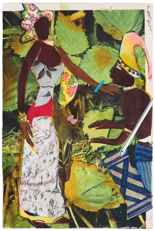 Bayou Fever, Earth and the Magic Drummer, 1979, Acrylic, collage, and pencil on fiberboard