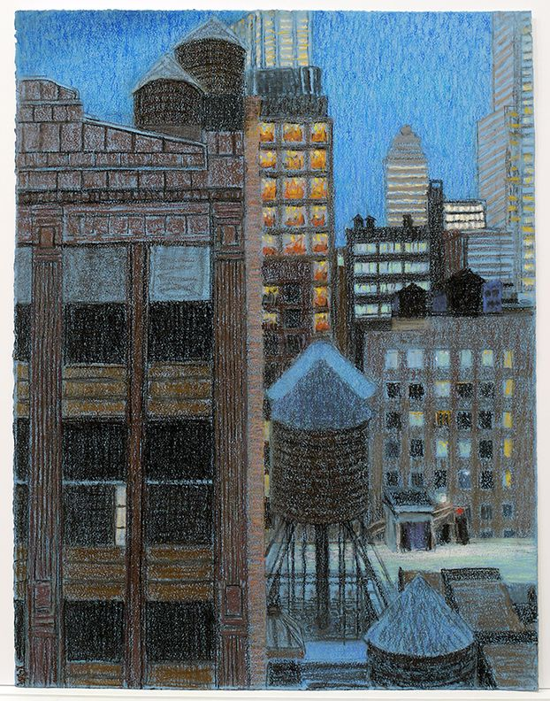 New Highrise Hotel from 27th Street (1st Study), 2014, Pastel on paper