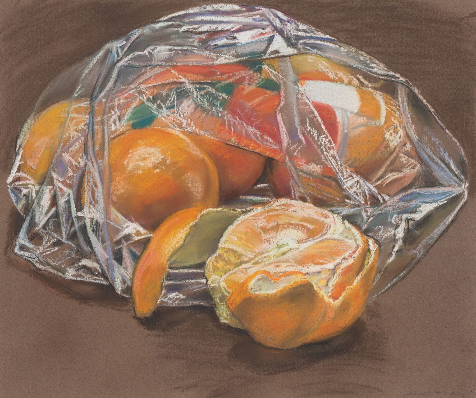 Oranges, 1972, Pastel on paper