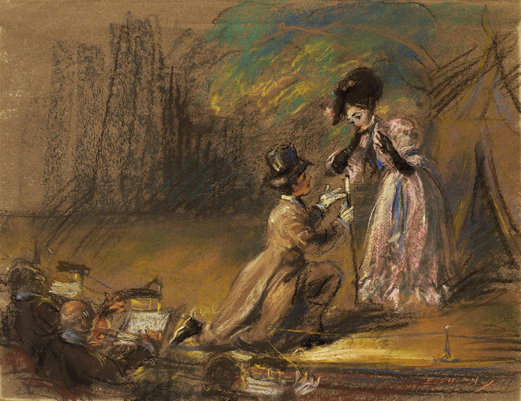 Theater Scene (with Man Kneeling to Woman on Stage), c. 1910, Pastel on paper