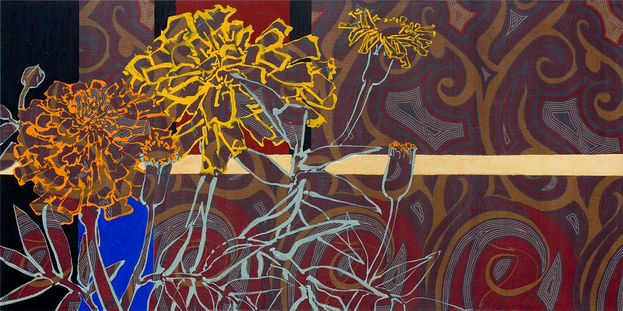 Summer Sari Marigolds, 2017, Oil, acrylic, gold leaf, and silk on canvas