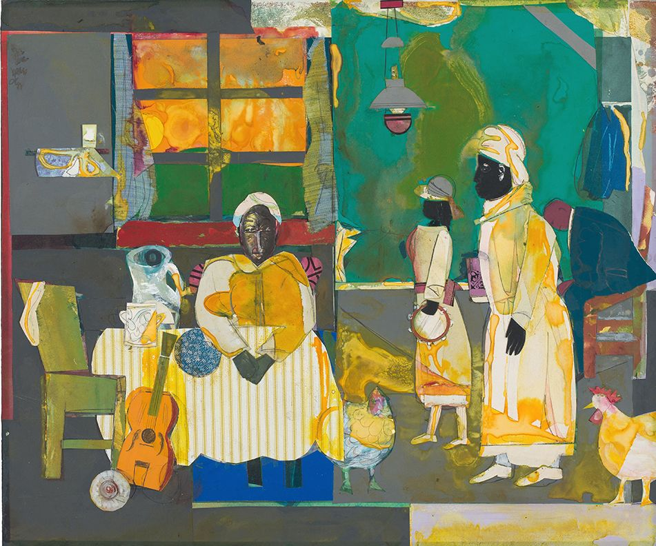 Gospel Morning, 1987, Mixed media collage on panel