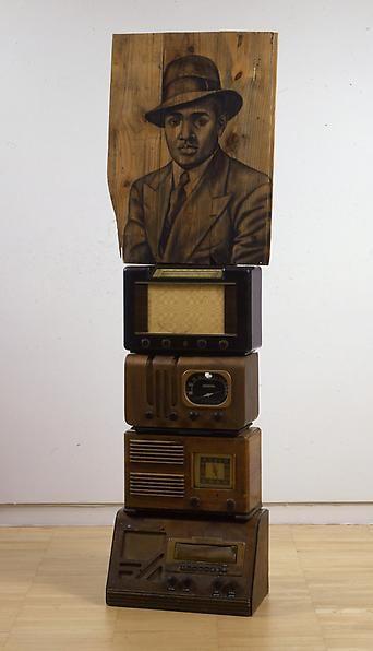 Lenox, 2008 Conte crayon on wood, radios