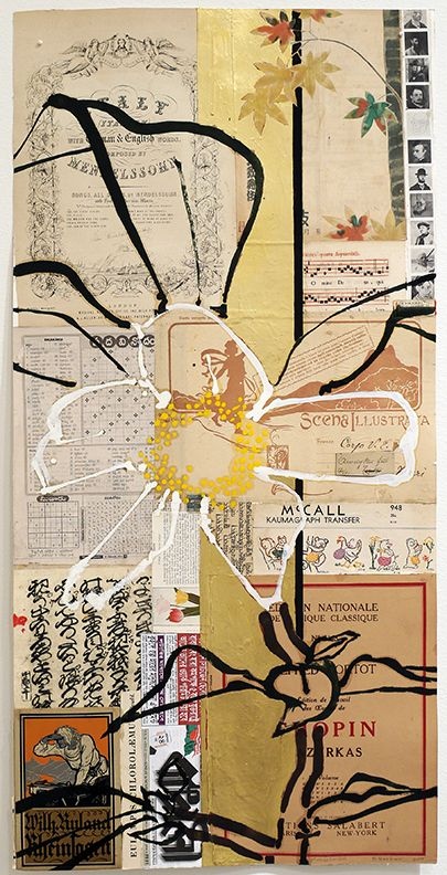 Mendelssohn, 2015, Oil, acrylic, gold leaf, and collage on paper