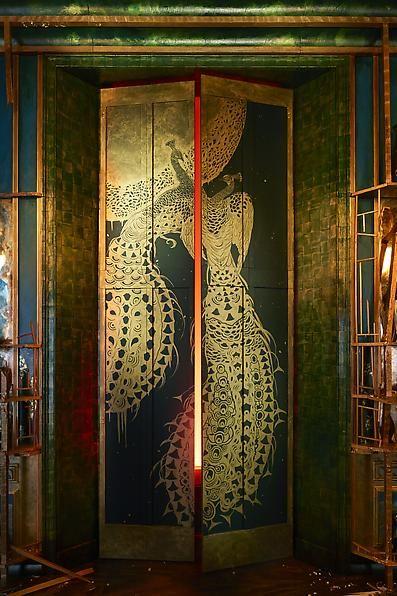 Detail ofDarren Waterston's Filthy Lucre: Whistler's Peacock Room Reimagined, on displayat Victoria & Albert Museum, London, U.K.