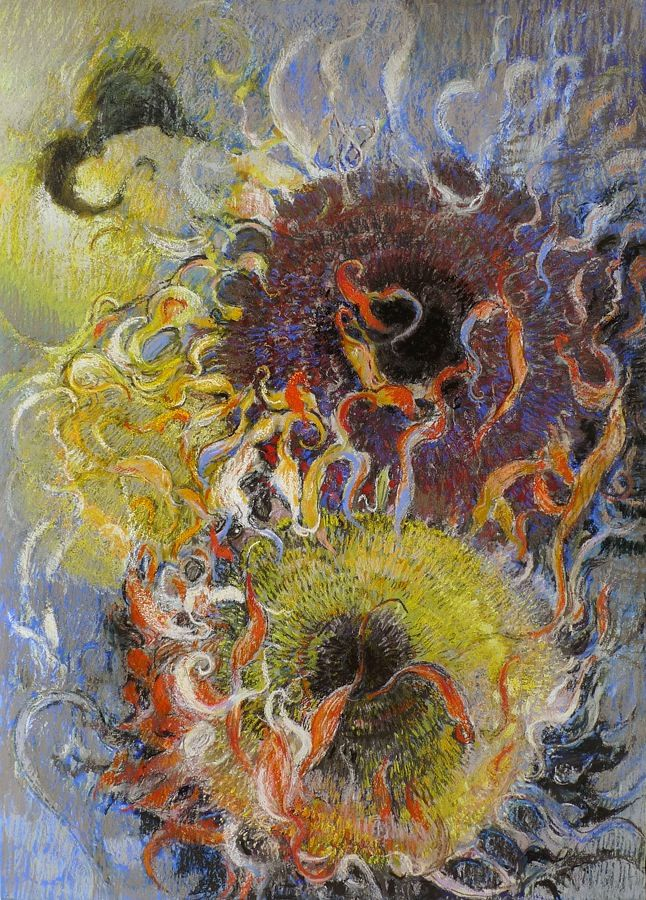 Sunflowers on Gray, 2011, Pastel on paper