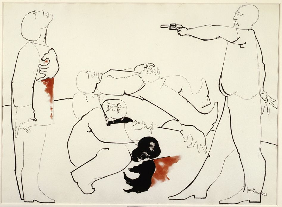 Jacob Lawrence, Struggle III - Assassination, 1965