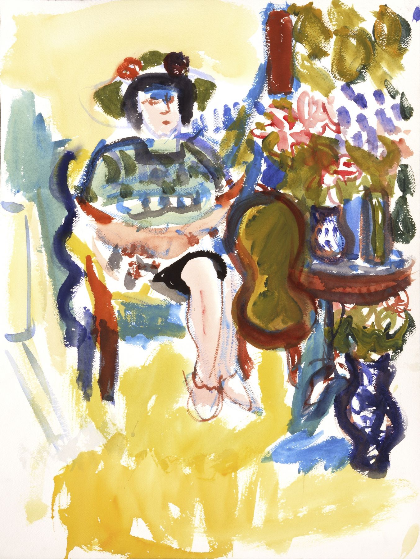 Seated Woman with Hat, Table Still Life, n.d.