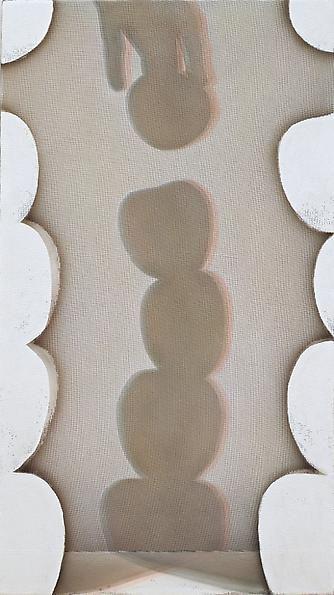 Addition, 2011. Acrylic on nylon mesh, 32 x 18 inches.