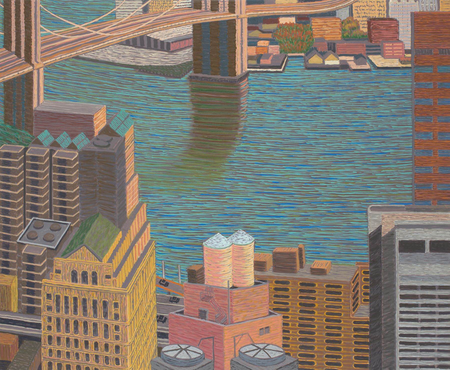 Brooklyn Bridge View with Double Water Towers, 2015