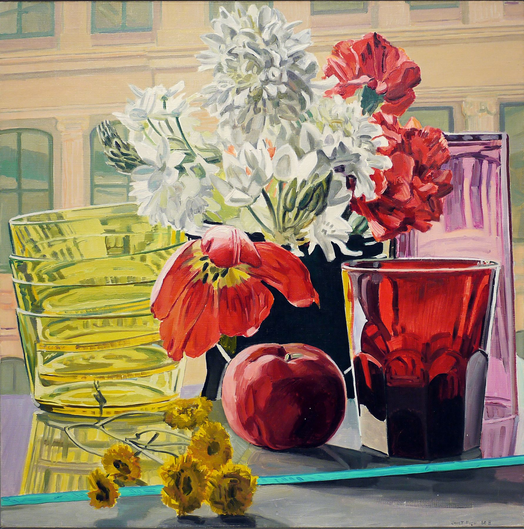 Tulip, Apple and Glass, 1980, Oil on canvas