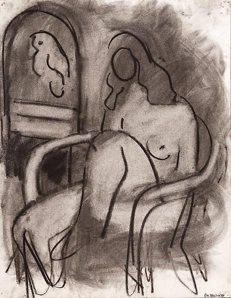 Seated Female Nude with a Parrot, 1980