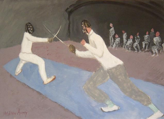 Fencers, 1941 Gouache on paper