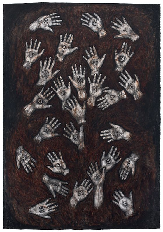 27 Hands, 1990, Oil stick and charcoal on paper
